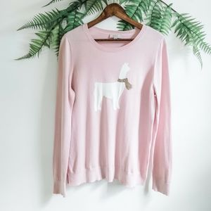 LOFT Pink, Cream, Gold Llama Crewneck Sweater